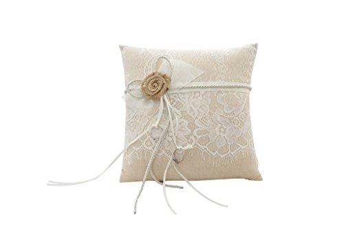 HYSENM Ringkissen Ring Pillow Satin mit Schleife Spitze europäisch für Hochzeit Heiratsantrag Hochzeitsdekoration, braun