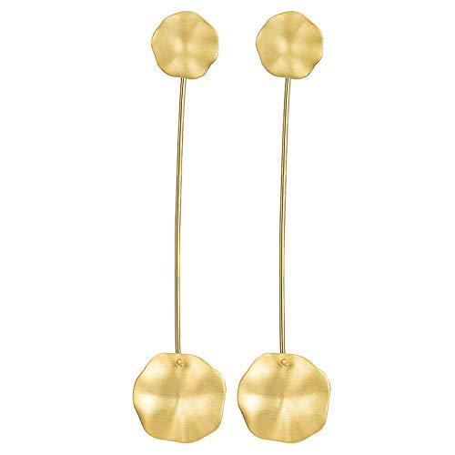 S925 Sterling Silber Damen Tropfen Ohrhänger,Natürliche Einfachen Chinesischen Stil Golden Lotus Blatt Pavillon Form Ohrring Für Frauen/Mädchen, Einzigartige Hypoallergene Schmuck Dekoration Gee