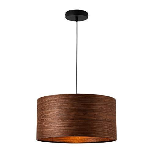 lux.pro Lampada a Sospensione in Stile Moderno E27 60W Lampadario in Metallo con Paralume Ø 40 cm - Color Legno Venato