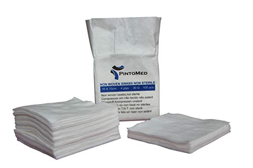 PintoMed - Compressa in TNT, Tessuto Non Tessuto, Tamponi di garza - non sterile, 4 ply, 10 cm x 10 cm, Pack 100