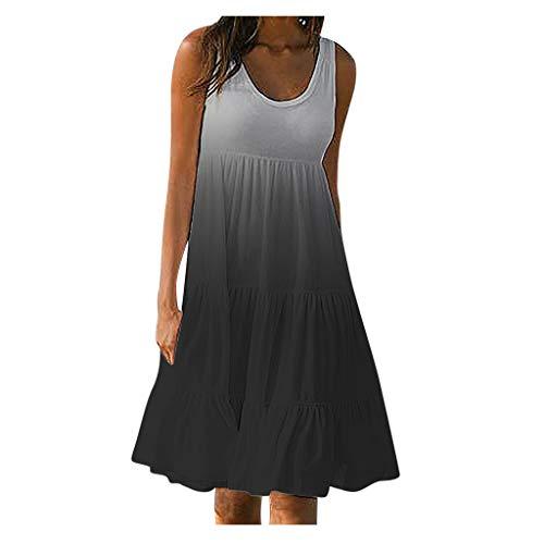 ReooLy Vestido de Verano para Mujer Fiesta de gradiente de Color Sin Mangas Fiesta Falda de Playa(A-Negro,M)