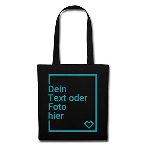 Spreadshirt Personalisierbarer Beutel Selbst Gestalten mit Foto und Text Wunschmotiv Stoffbeutel, Schwarz