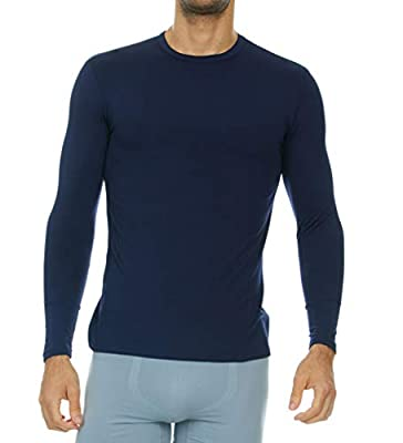 Thermajohn Mens Ultra Soft Thermal Shirt – Compression Baselayer Crew Neck Top – Fleece Lined Long Sleeve Underwear T Shirt (Navy, X-Large)