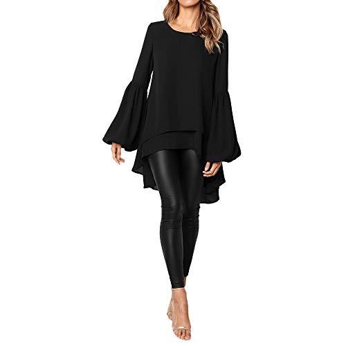 Mode Femme Casual Couleur Unie Col Rond Asymétrique Ourlet Manchon de Cloche Slim Chic Tricoté Pullover T Shirt Tops Simple Blouse Long Robe en Vrac feiXIANG (Noir,L)