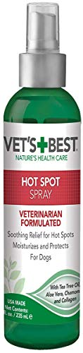 Vet's Best Dog Hot Spot Itch Relief Spray | Relieves Dog Dry Skin, Rash, Scratching, Licking, Itchy Skin, and Hot Spots | No-Sting and Alcohol Free | 8...