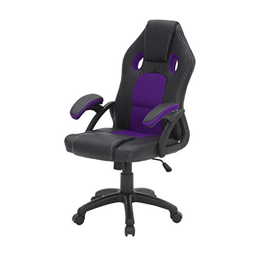 Shoze Gaming Chair Office Desk Chair with Armrest Ergonomic Design Reclining Back Support Executive Racing Adjustable Swivel Recliner Leather Home Computer Heavy Duty Manager Work Chair Purple