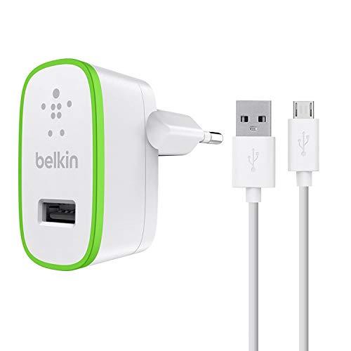 Belkin F8M886vf04-WHT - Cargador doméstico para smartphones y tabletas (con cable micro-USB, 12 W, 4 A, 1.2 m) blanco