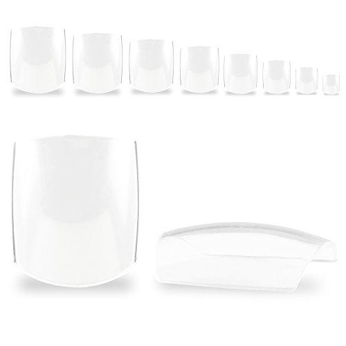 500 Fullsize Zehennägel (Fußnägel Tips) klar transparent im Nachfüllbeutel