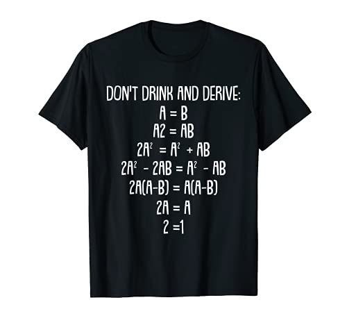 Dont Drink And Derive Math Funny Pun Jokes Equation Drinking T-Shirt