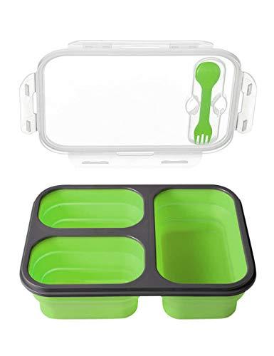 Recipiente de Silicona Plegable para Almacenamiento de Alimentos Reutilizable Fiambreras Bento para Niños y Adultos SPDYCESS