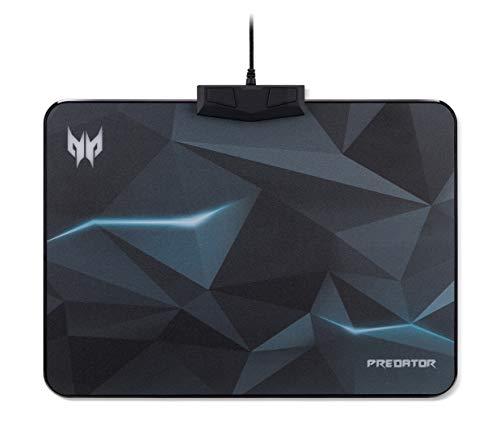 Acer Predator Gaming Mauspad (reibungsarme Faseroberfläche, Unterseite aus Naturkautschuk, leicht zu reinigen, sechs Lichtmuster, vier Helligkeitsstufen, Größe M) RGB Beleuchtung