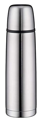 alfi Thermoskanne Edelstahl isoTherm Perfect, Trinkflasche auslaufsicher, Edelstahl matt 500ml, Isolierflasche mit Trinkbecher 5107.205.050 spülmaschinenfest, Thermosflasche 12 Stunden heiß
