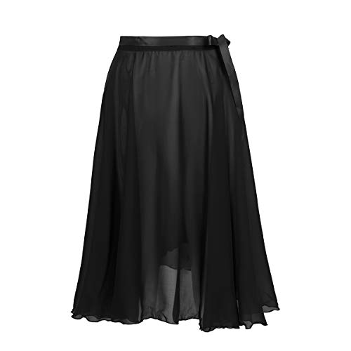 TiaoBug Falda de Ballet Mujeres Bailarinas Falda Larga de Gasa con Cinturilla Ajustable Envoltura para Bodies Gimnasia Niñas Mujeres Negro One Size