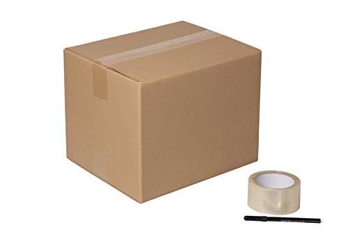 DeCampos - 20 Cajas Carton Mudanza 30x20x20 cm + Precinto + Marcador | Caja Almacenaje con Capacidad para 12 L | Caja Carton Kraft Canal Doble Resistente | 20 Unidades + Precinto + Marcador