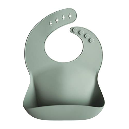 mushie Silicone Baby Bib   Adjustable Fit Waterproof Bibs (Cambridge Blue)