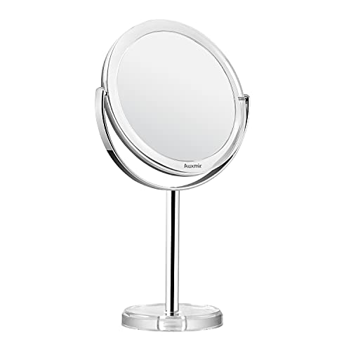 Auxmir Espejo de Maquillaje con Aumento 1X / 10X, Espejo Cosmético de Doble Cara, Espejo de Mesa con Rotación de 360° para Maquillaje, Afeitado y Cuidado Facial, Plata