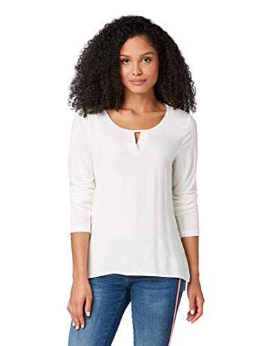 TOM TAILOR Damen T-Shirts/Tops Langarmshirt mit V-Öffnung Whisper White,XL,10315,2000