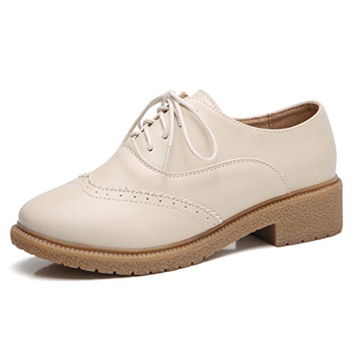 Women's Lace-up Wingtip Leather Oxfords Flats Vintage Brogues Casual Shoes Beige