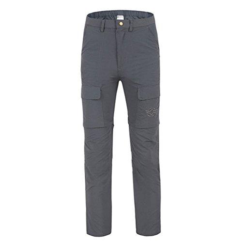 emansmoer Homme Zip Off Pantalon Armée Militaire Combat Outdoor Marche Randonnée Pêche Sport Respirant Quick Dry Pantalon (Medium, Gris)