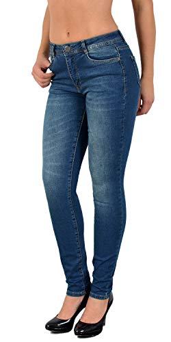 ESRA Damen Jeanshosen Skinny Damen Jeans Hose High Waist, J64, 36