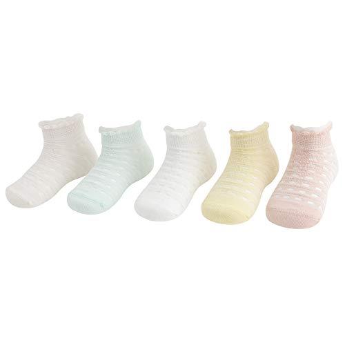 DEBAIJIA 5 Pares de Calcetines de Algodón de Malla Fina Calcetines Respirable de Primavera Verano Calcetines para Niños Niñas 3-5 años - L - Niña - C