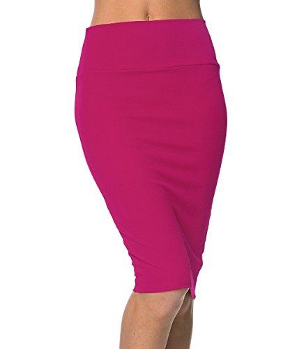 Urbancoco Damen Bleistift Rock Kurz Hohe taille Stretch Business Rock (XL, hot pink)