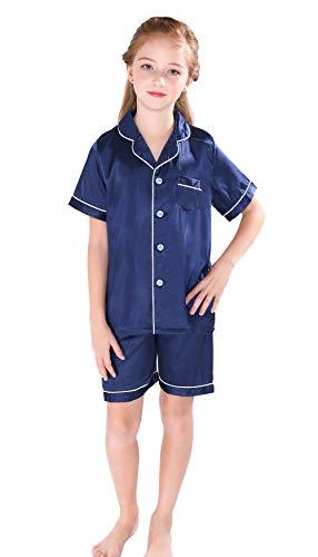 Horcute Pajamas Little Kid Sleepwears Set Pjs Clothes Short Sleeve Navy 160# 9-10Y