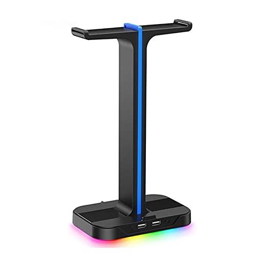 Feixunfan Soporte Auriculares 2 Auriculares De Sonido Estéreo De La Suspensión para Auriculares USB con RGB Retroiluminado para Jugador de Escritorio (Color : Black, Size : One Size)
