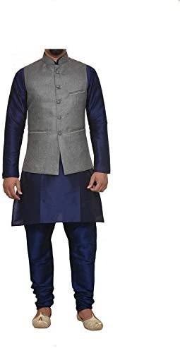 Mag Men's Nevy Blue Limited time cheap sale Matching With Churidhar silk Max 50% OFF Kurta