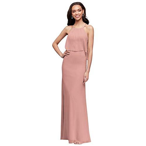 David's Bridal Flounced Crinkle Chiffon Sheath Bridesmaid Dress Style F19773, Ballet, 24