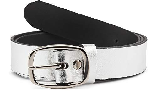 Merry Style Damen Gürtel Ledergürtel D41(Silber, 90 cm (Gesamtlänge 109 cm))