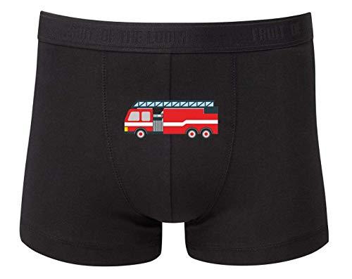 Druckerlebnis24 Boxershort - Feuerwehr Drehleiter Auto Comic - Unterhose für Herren und Männer