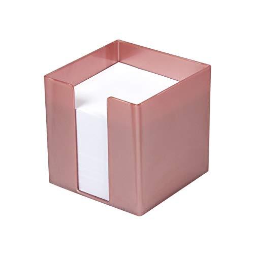 Metzger + Mendle Zettelbox aus Kunststoff 95x95x95mm, gefüllt mit 700 Blatt weißem Papier (80g/qm), FSC, Farbe: roségold