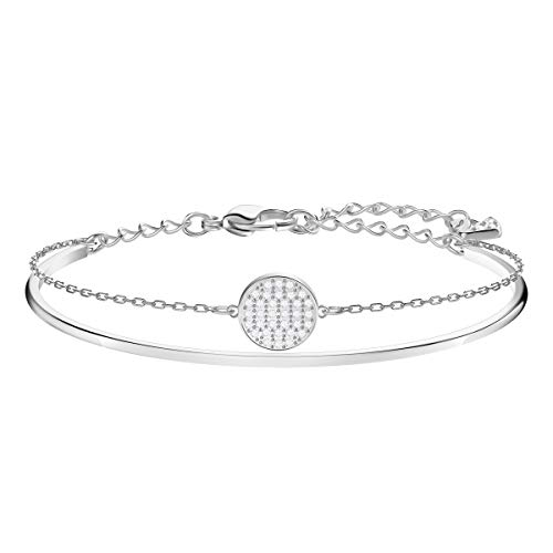 Swarovski Women's Ginger Bangle Bracelet, Brilliant White Crystals, Stunning Bangle Bracelet with Chain, from the Swarovski Ginger Collection