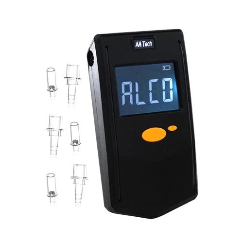 iBACheck Etilometro portatile ad alta precisione, Alcol test con display LCD digitale, 4 unità di misura, Alcool test può adattarsi a 2 diversi bocchini. Bassa potenza e ultimi 500 test