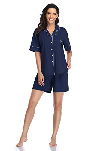 SHEKINI Damen Schlafanzug Kurz Baumwolle Sommer Pyjama Nachtwäsche Hausanzug Kurzarm Revers und Knöpfe(Dunkelblau,S)