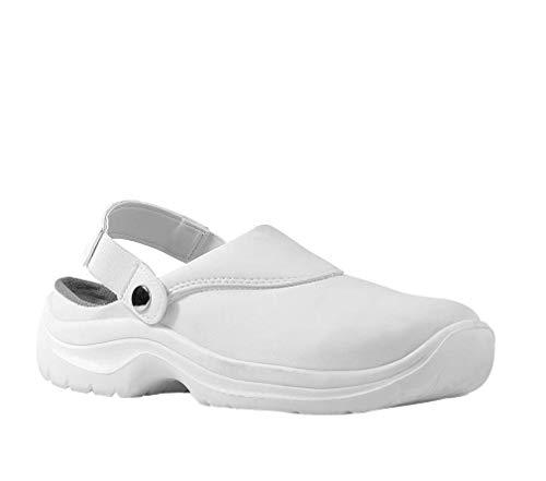 Zapatos de seguridad Clogs Gastro Cocina alimentos con tapa de acero antideslizante SB SRC, color Blanco, talla 41 EU