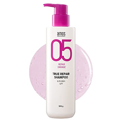 AMOS PROFESSIONAL True Repair Shampoo 17.6 oz (500g) | Damaged Hair Care Routine | No more Tangled Hair and Split Ends | Korean Hair Salon Brand