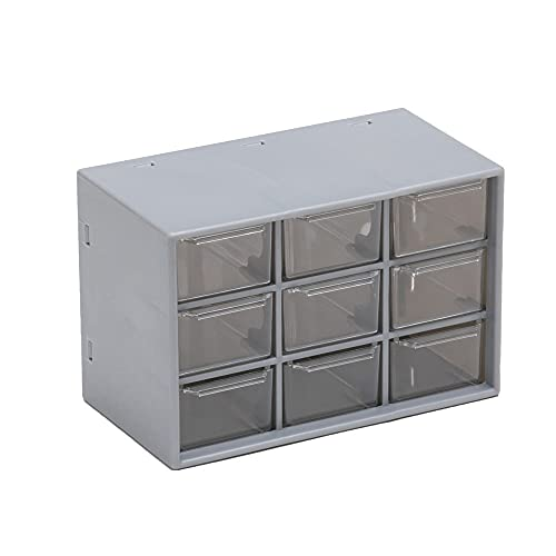 Cajón de plástico con 9 rejillas Almacenamiento de papelería de joyería Escritorio de dormitorio Organizador de maquillaje Caja de pendientes de cuentas