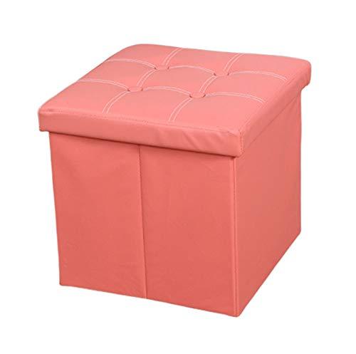 Tabouret Rangement Interieur, Tabouret Rangement Plaid Tabouret Pouf Coffre Cube Repose-Pieds avec Espace de Rangement Boîte De Rangement Pliables en Simili Cuir