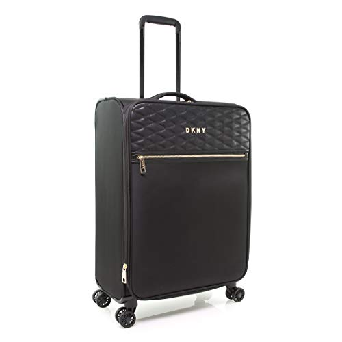 DKNY Quilted Expandable Softside Spinner Luggage, Black, 25 Inch