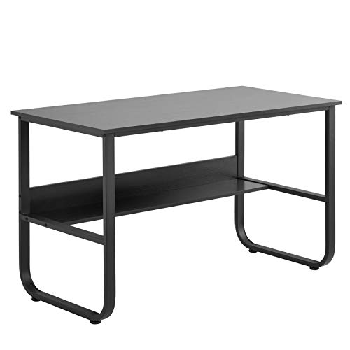 belupai Escritorio, mesa de ordenador con estante, mesa de oficina en forma de U para casa, oficina, PC, mesa en negro, 120 x 60 x 73 cm