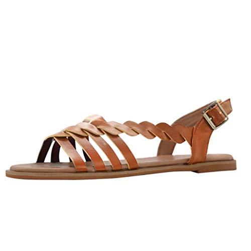 Damen Offene Sandalen Sommer Knöchelriemchen Schuhe Bohemia Plateau Sandaletten Krawatte Sommersandalen (EU:38, Braun)