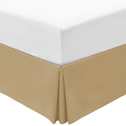 Mellanni Queen Bed Skirt - 15-Inch Tailored Drop Pleated Dust Ruffle - 1800 Soft Double Brushed Microfiber Bedding - Easy Fit, Hypoallergenic, Wrinkle, Fade, Stain Resistant (Queen, Beige)