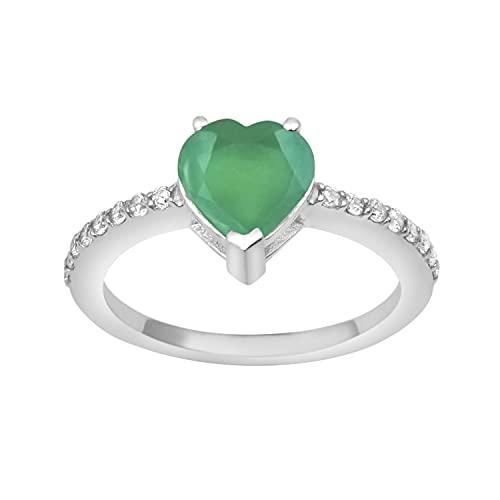Shine Jewel Multi Elija Sus Acentos Laterales de Piedras Preciosas Anillo Solitario de Plata de Ley 925 de 7 mm (9, Ónix Verde)