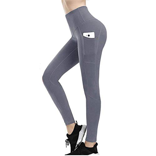 High Waisted Leggings for Women, Weight Loss Hot Sauna Sweat Pants, Fit Compression Yoga Pants Power Stretch Workout Leggings with High Waist Tummy Control (Gray, L)