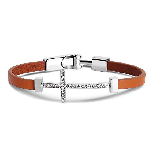 AnazoZ Lederarmband Herren Damen aus Premium Leder und Edeltahl, Männer Frauen Armband Kreuz Zirkonia Armreifen Geschenk für Mädchen Junge - Orange 18.5cm