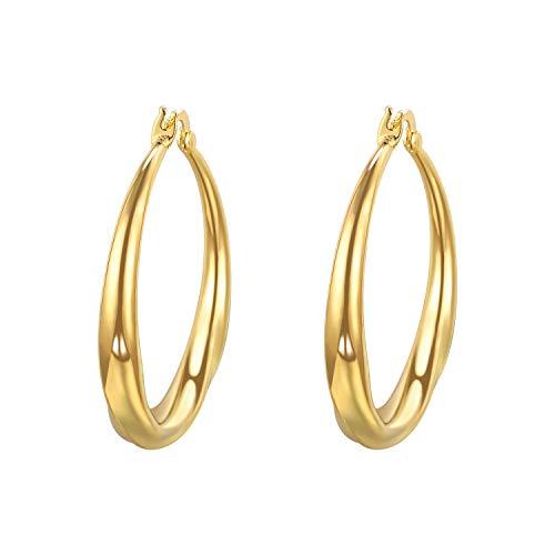 Vogem Gold Drop Earrings Women 9ct Large Hoop Earrings for Ladies Girls Hypoallergenic Charm Fashion Jewellery Gift