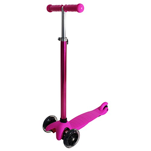 RIMABLE Kids 3 Wheel Adjustable Height Mini Kick Scooter with LED Light Up Wheels (Luxury Pink)