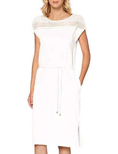 s.Oliver Damen Jerseykleid mit Spitzen-Passe Off-White 42